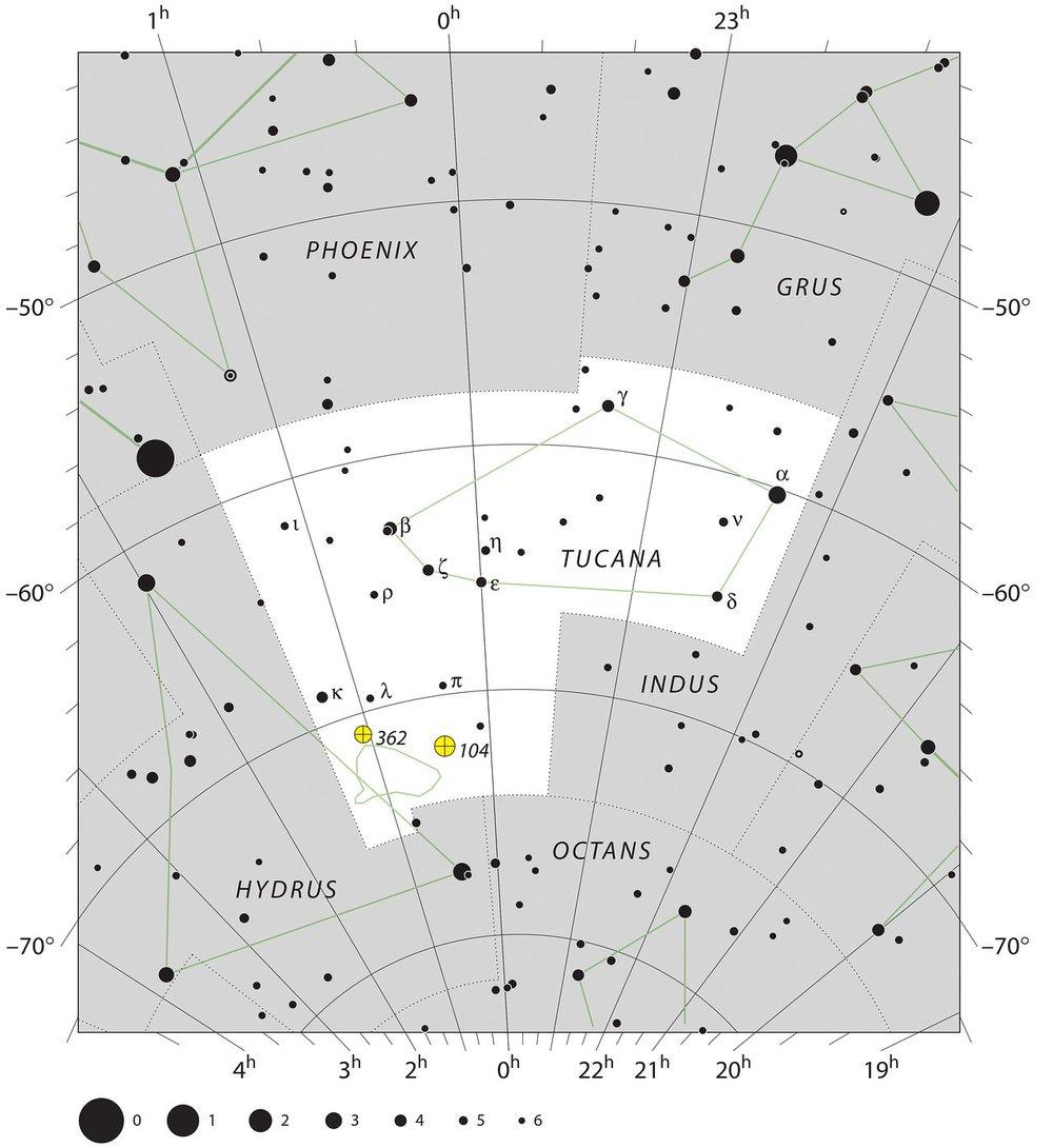 Este diagrama muestra la constelación de la Tucana, hogar de la Pequeña Nube de Magallanes observable desde el hemisferio Sur a simple vista. Crédito: ESO, IAU and Sky & Telescope