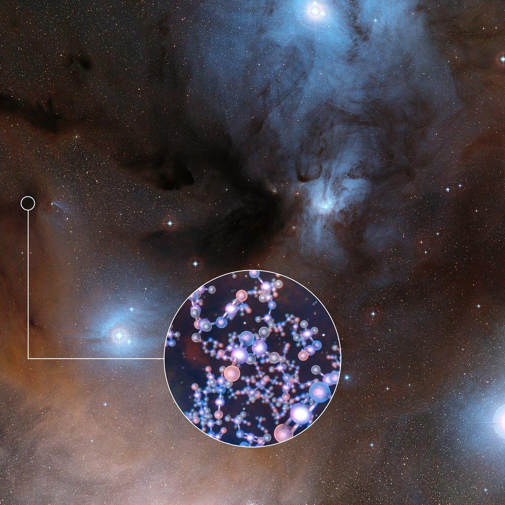 ALMA ha observado estrellas como el Sol en una etapa muy temprana de su formación y ha descubierto rastros de isocianato de metilo, un ingrediente químico básico para la vida. Crédito: ESO/Digitized Sky Survey 2/L. Calçada