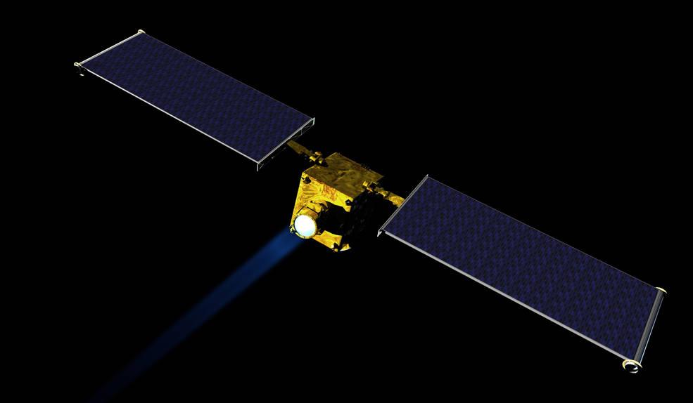Concepción artística de la nave DART de NASA para la desviación de astroides. Crédito:NASA/JHUAPL