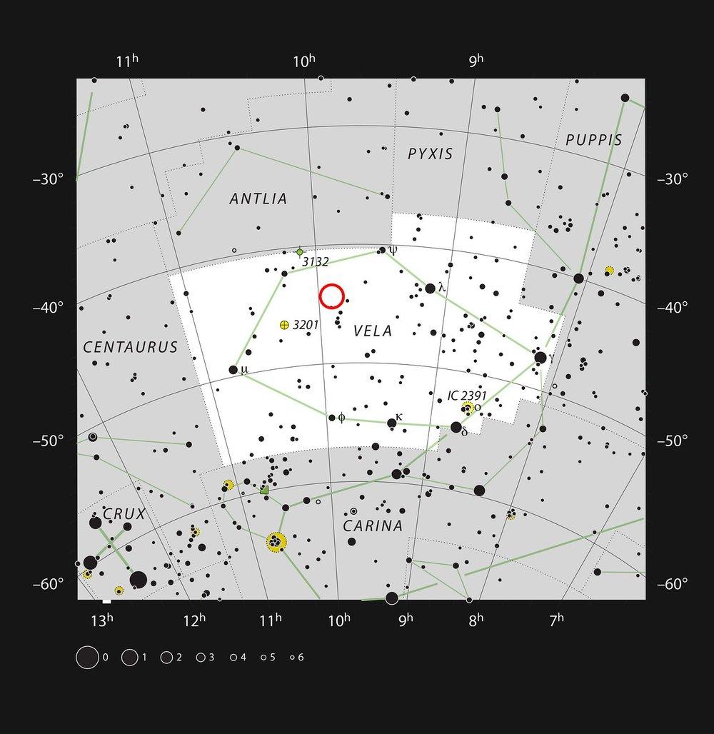 Ubicación de la estrella WASP-19b en la constelación de Vela. Crédito: ESO, IAU and Sky & Telescope.