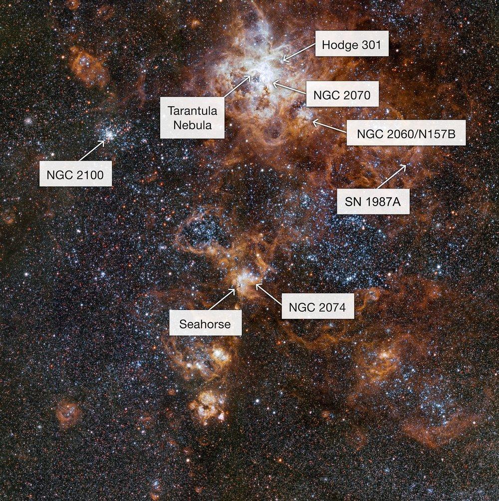 Esta imagen, obtenida con el telescopio de rastreo del VLT, en el Observatorio Paranal de ESO, en Chile, muestra de forma muy detallada esta región y sus ricos alrededores. Revela un paisaje cósmico de cúmulos de estrellas, nubes de gas que brillan intensamente y los dispersos restos de explosiones de supernova.  Crédito:  ESO
