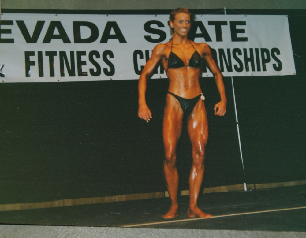 "2000 Nevada State Bodybuilding Competition (My idea of ""fit"" and ""healthy"" at the time. Boy did I have a lot to learn)."