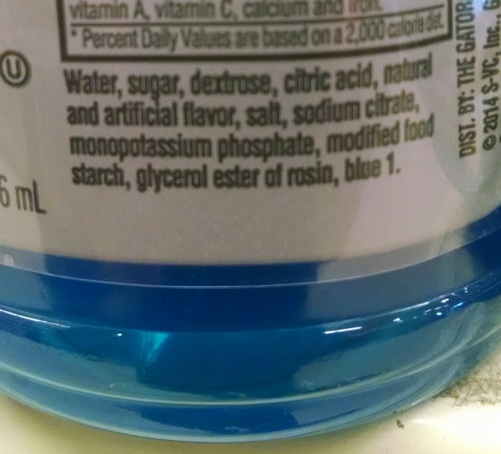 "This is a very popular sports drink. This is supposed to be good for us??? This is what we are giving to athletes? What exactly is hidden in the ""natural and artificial flavors"" and why is there a need for the chemical ""blue 1""? Does making it blue make us feel like we somehow have superpowers??? Once again, I don't know a single ingredient in this drink except the water, sugar & salt."