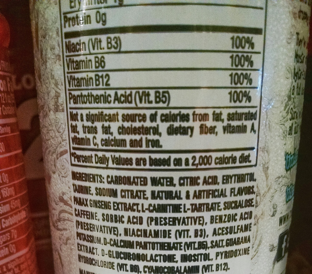 A VERY popular energy drink that I see people consuming multiples of per day. Besides the carbonated water, can you really identify ANY of the ingredients in this drink? This seems like a VERY dangerous habit to me. Need more energy? Try sleeping and a cup of coffee!