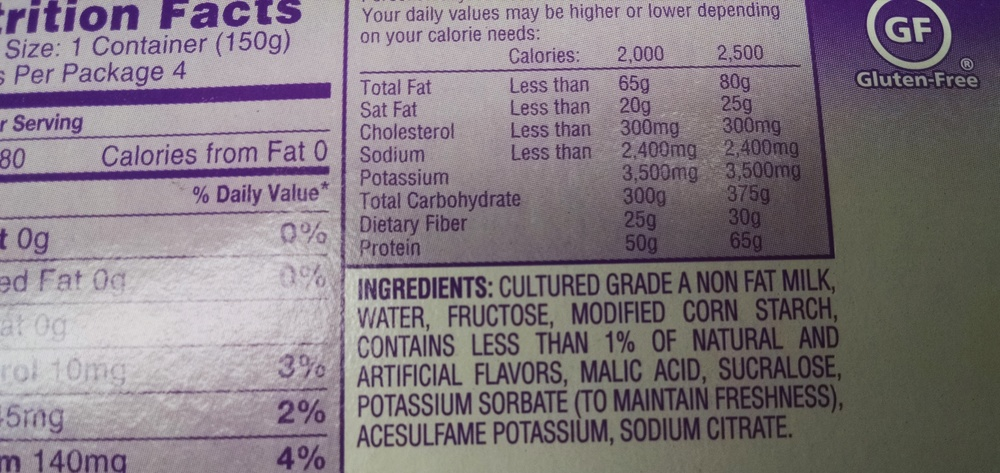 This is a perfect example of a non-fat yogurt. How are these working out for you? Are you just so filled up after eating one of these chemical-laden low cal, low fat treats you have no problem sticking to that diet? Or are you STILL hungry, ravenous & digging through the cupboard for something more which often leads to succumbing to that chemical-laden bag of chips? As I have said before, fat is not the enemy. The true enemy is all of the chemicals you are staring at in this oh-so-healthy yogurt.