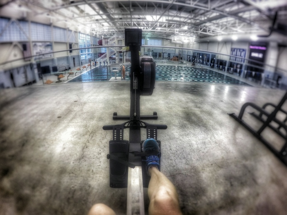 After my swim I was able to fit in a session on the rower. Two workouts for the price of one. WooHOO!!!