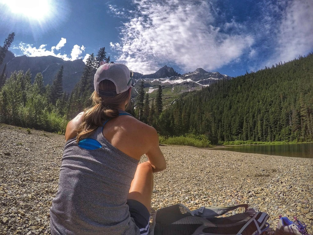 Enjoying a little zen time after hiking in to Avalanche Lake in Glacier National Park