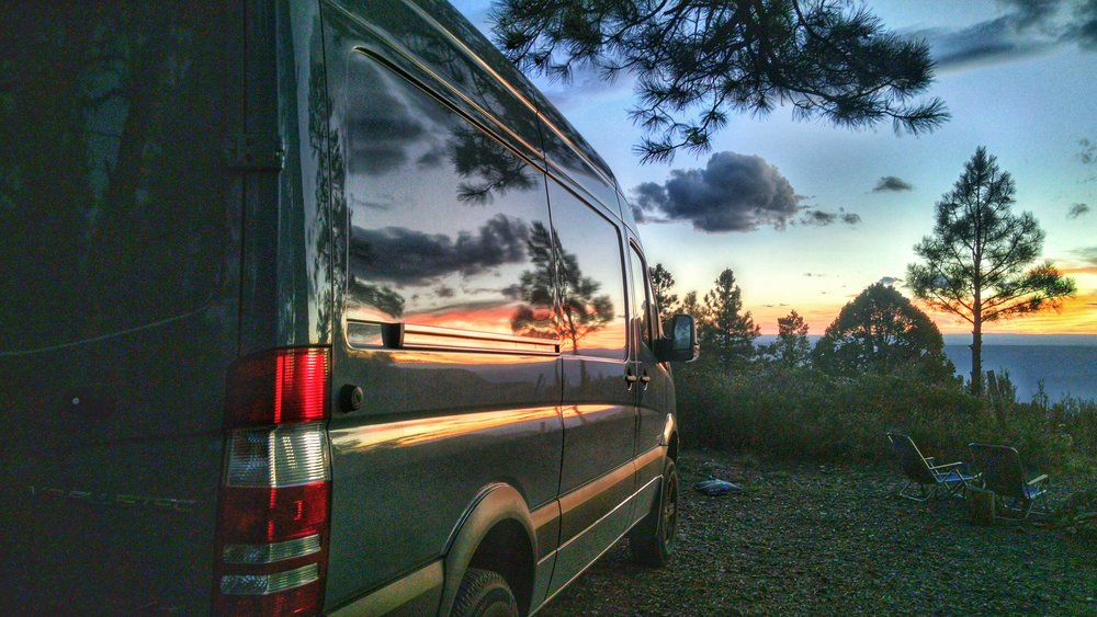 Loved the reflection of the sunset in the van.