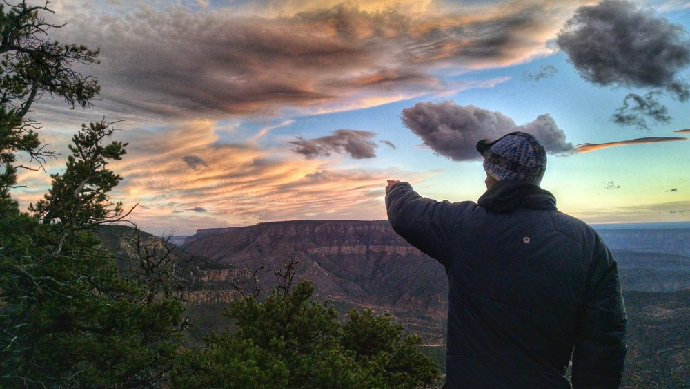 Pointing out all of the amazing clouds in the sky.