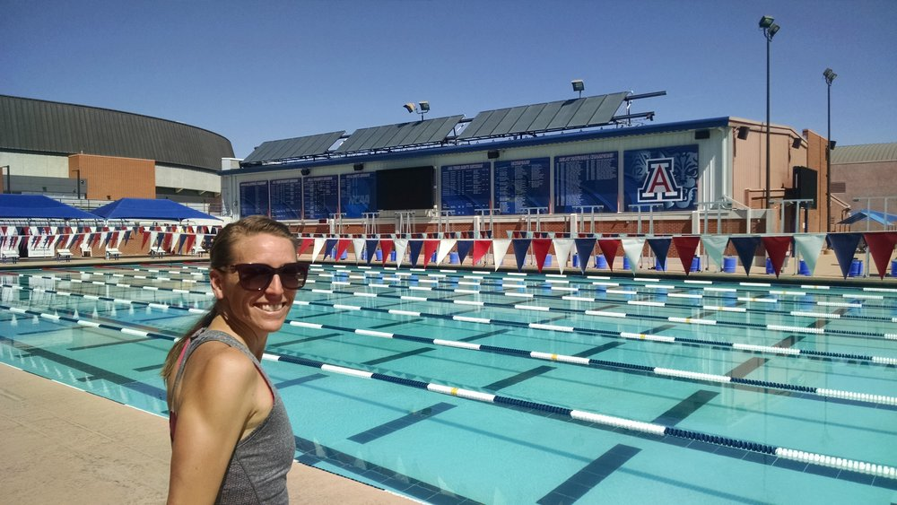 At the main pool at the UofA. This is just one of the amazing pools on this beautiful campus.