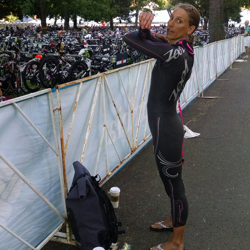 Race Morning - Getting the wetsuit on & getting the shoulders stretched and primed for swimming.