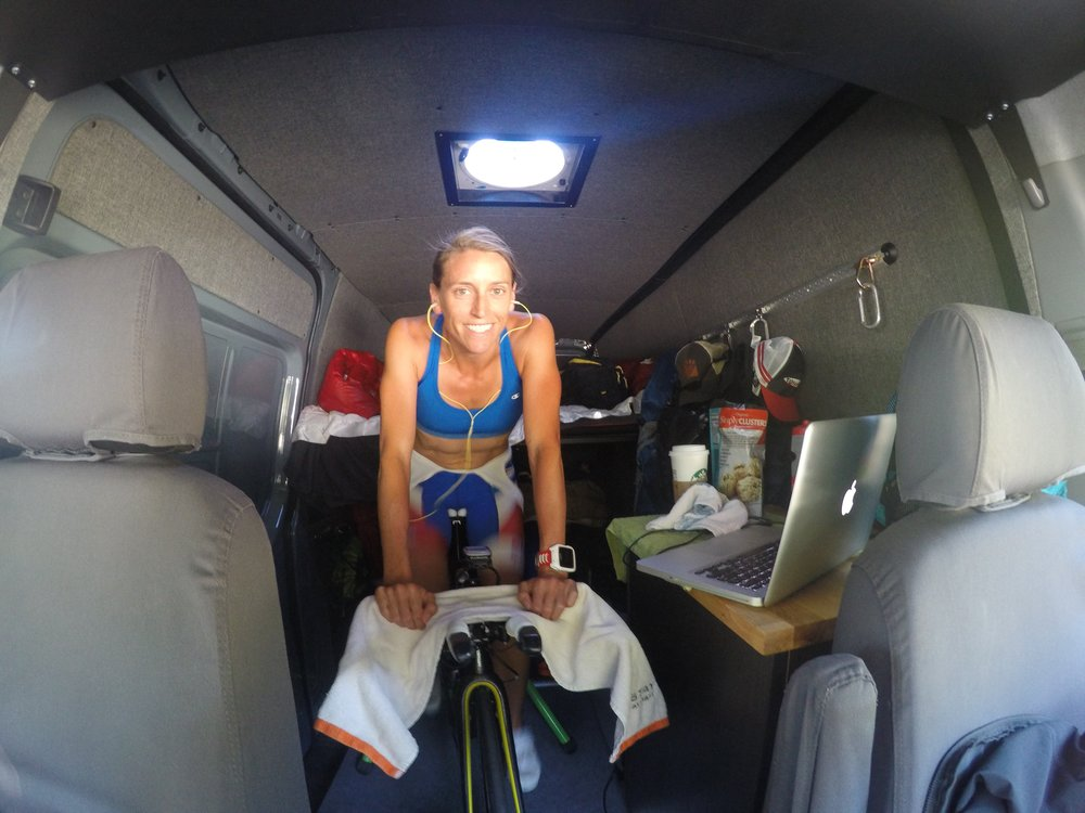 I also learned I can ride my trainer inside the van. If the van's a rockin', don't come a knockin'!!