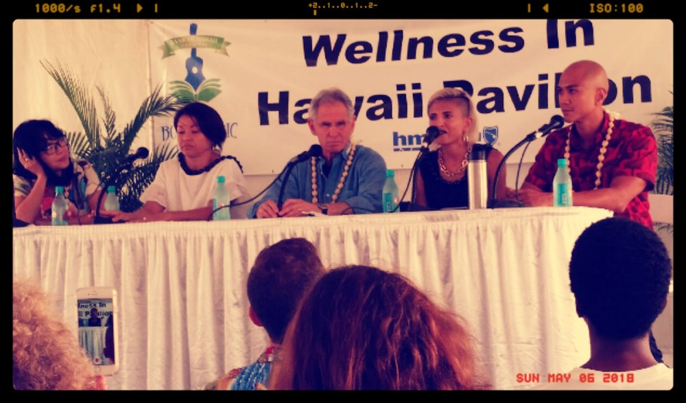 Left to right- Thao Le, Julie Takishima-Lacasa, Jon Kabat-Zinn, Sonia Patel, Sid Hermosura (not in photo: Maya Soetoro-Ng)