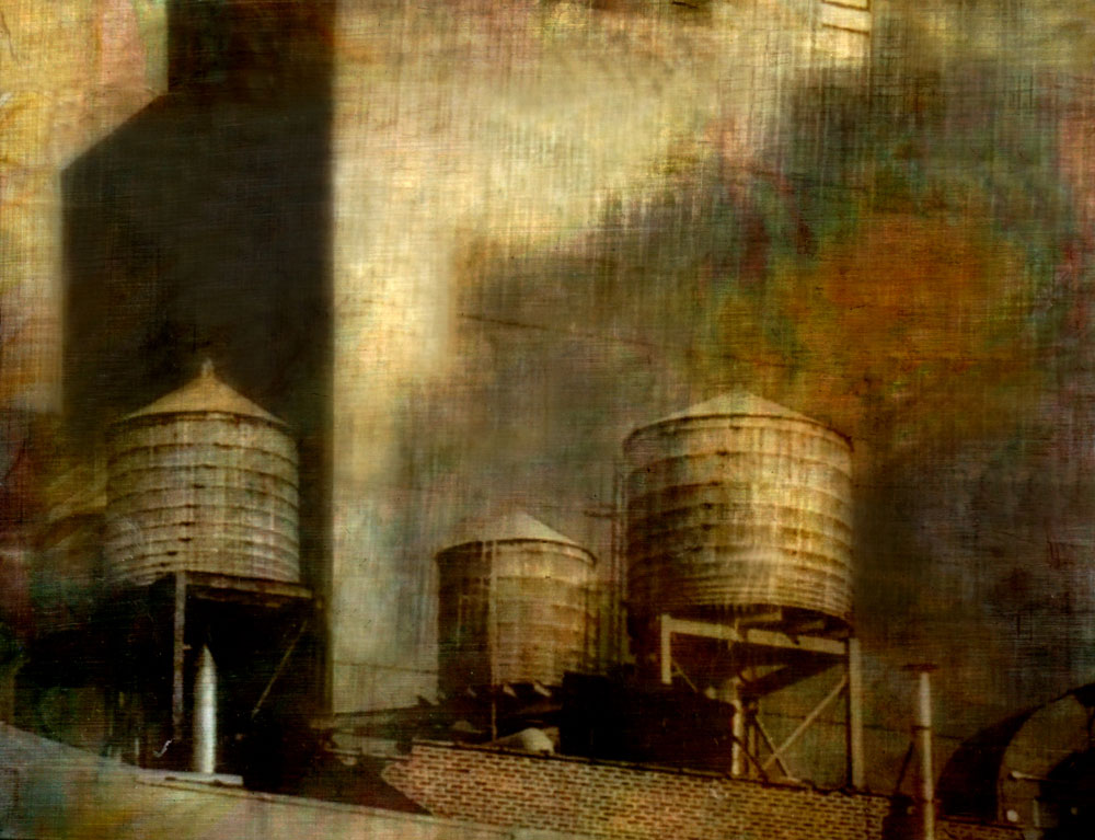 """Water towers,"" alternative process photo, 23 X 30 in., © 2017 Bill Travis"