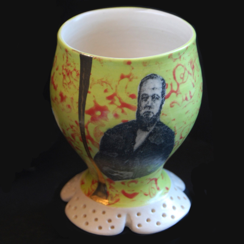 "Lithograph printed 4"" cup with gold embellishment 