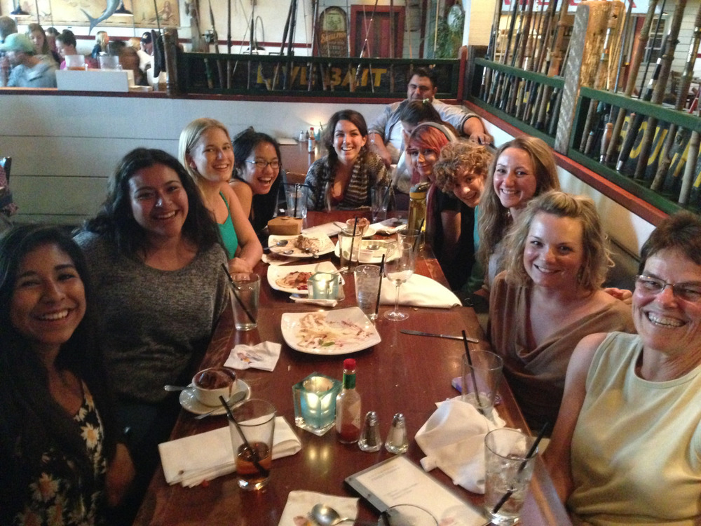 Mentors extraordinaire, Whitney Webb and Genine Iffla, took the Pier Pressure team out to dinner last night for a team bonding session and celebration in honor of their two new company clients! The girls recently just started working on custom projects for both Kaibae and the Orfalea Foundation ,and we are all stoked on their handwork and accomplishments this semester. Everyone had a fantastic meal and a awesome time at Enterprise Fish Co.! http://www.orfaleafoundation.org/ http://gokaibae.com/apps/find-a-retailer