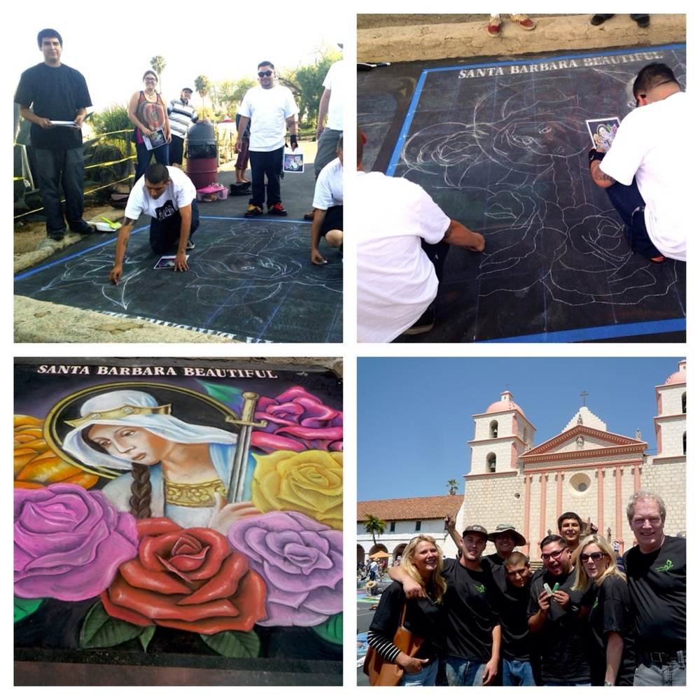 "We had a blast last weekend at the I Madonnari festival! We are so honored to have been apart of such an event with so many talented artists. Here are some photos of the mural team working on their original painting of ""St. Barbara of the Roses"" and our wonderful partners from Santa Barbara Beautiful.  Thanks to everyone who came out, the amazing Mitra Cline, and our incredible mural team!"