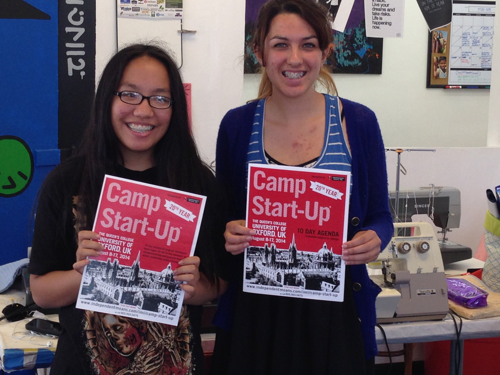 Congratulations to our Pier Pressure Design girls, Joyce Bantugen and Cece Campos, who were awarded two scholarships to Camp Start-Up by Independent Means Inc. this summer in Oxford, England! The girls have been with the Pier Pressure Designs since it started in September of 2013, and have gone consistently gone above and beyond to get where they are today! The team has had some major accomplishments this year that we could not be more thrilled about. Pier Pressure recently took on two private label clients, which they are designing personalized tote bags for that are fabulous! Camp Start-Up is a transformational experience for young entrepreneurs to expand their entrepreneurial and business skills by interacting and learning from business owners and motivating leaders who are passionate about their work and teaching other young entrepreneurs how to succeed. They will have the chance to create a network amongst their mentors and friends, which will be beneficial to their future business endeavors. Enormous thanks to Independent Means Inc. for providing our students with this life changing opportunity that they will never forget. Without your help none of this would be possible!        To learn more about the Camp Start-Up program and the work that Independent Means Inc. does, check them out here @  http://www.independentmeans.com/camp-start-up/