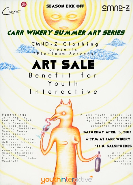 Make sure to stop by Carr Winery next Saturday April 5th, 2014 for the summer art series, a benefit for Youth Interactive! Yummy food will be provided by California Woodfire Pizza some amazing art by many artists including sever of our own from the center! We'll see you Saturday!