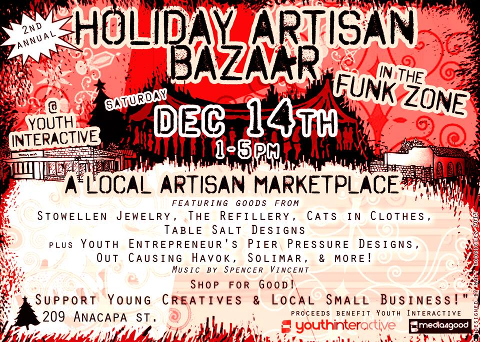Youth Interactive artists have been as busy as Santa's elves preparing for Saturday's GREATEST GIFTS Holiday Artisan Bazzar. The Funk Zone Shop will be full of unique and affordable artwork for everyone on your list. You will find paintings, jewelry, photographs, graphic designs, and original t-shirts designed by local artists and Youth Interactive students. Admission is FREE and EVERYONE is welcome!  209 Anacapa 1-5 PM SATURDAY, DECEMBER 14TH  'Tis the Season to give gifts that change lives!     #holidays #gifts #art #local #funkzone #santabarbara #youthinteractive #nonprofit #music #fun
