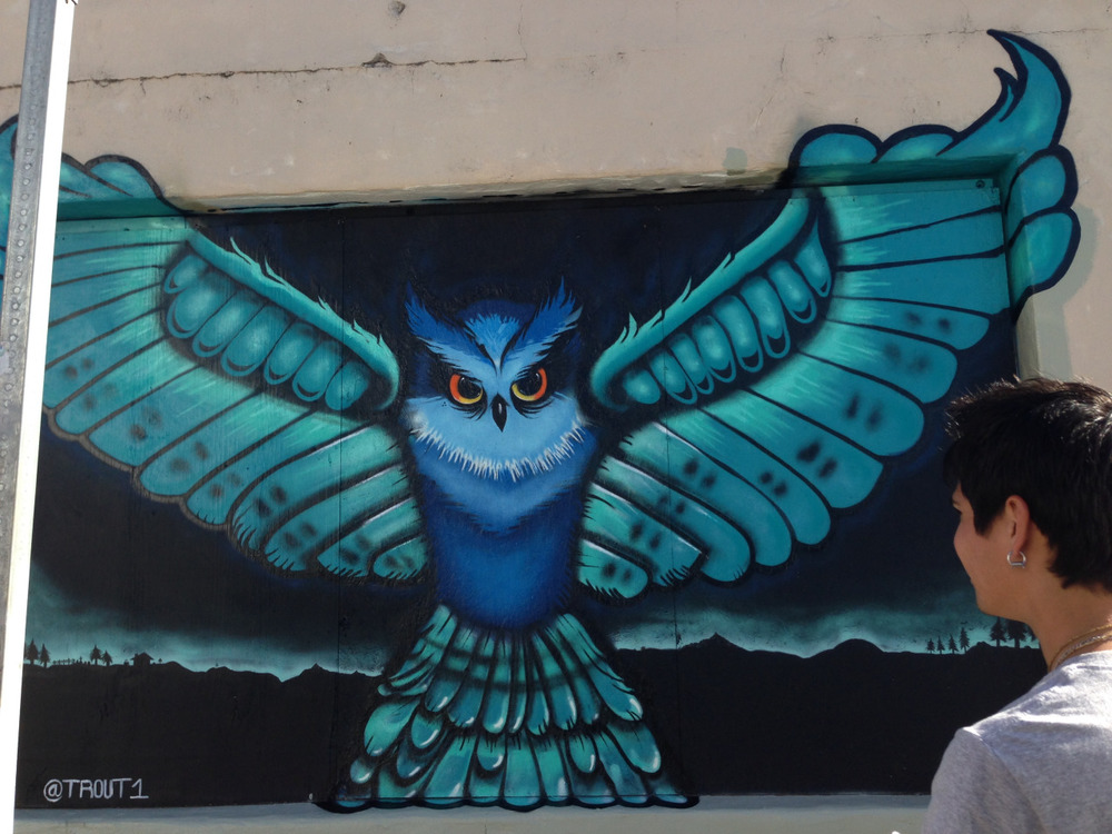 One of the pieces done by our very own Toby Trout during the Open Streets Festival last weekend! Go check it out on Mason Street   #openstreets #santabarbara #funkzone #outsiderart #streetart #liveart #owl #youthinteractive