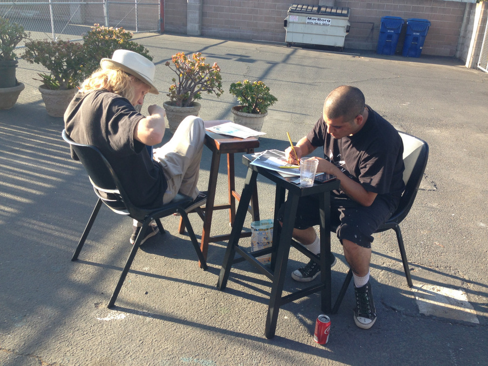 The street art team is working hard on some new art for Mony's Taqueria on Anacapa!   #monys #taqueria #streetart #mural