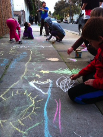 Outside art at Youth Interactive… the best way to relieve stress after an afternoon of homework!