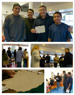 A visit by city officials to Youth Interactive was a bright spot in a rainy day! After founder Nathalie Gensac described the program, they toured the center. First District Supervisor Salud Carbajal received a gift from students of the Mayan language: they translated his name and drew it as a Mayan glyph! How cool is that!? Standing with Salud Carbajal are the young men who presented this gift: Orlando, José, and Nestor.