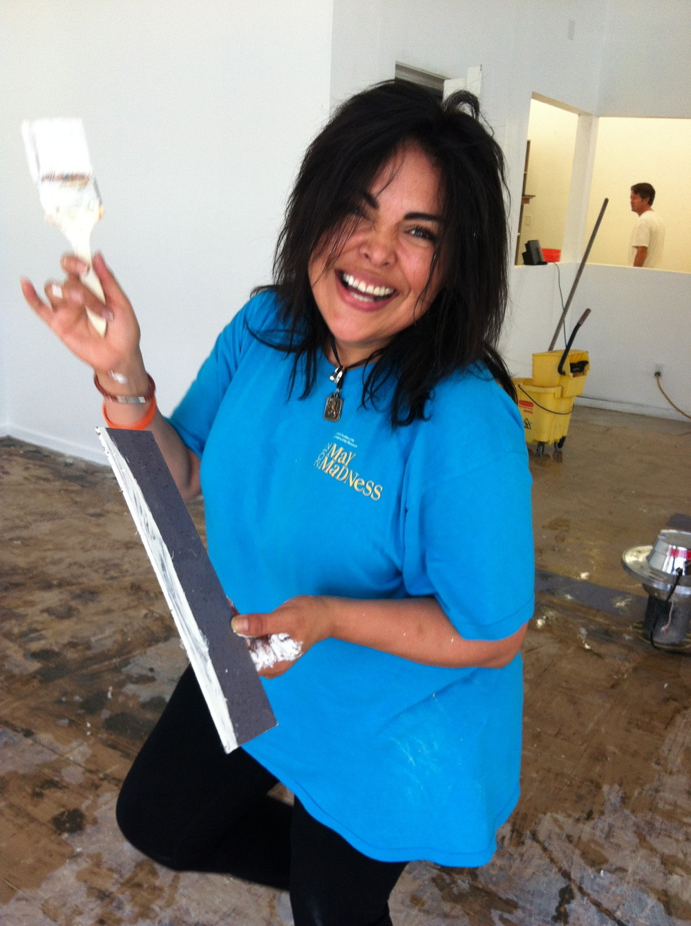 Kimberly Delgado from Montecito Bank & Trust getting down dirty painting at Youth Interactive today!