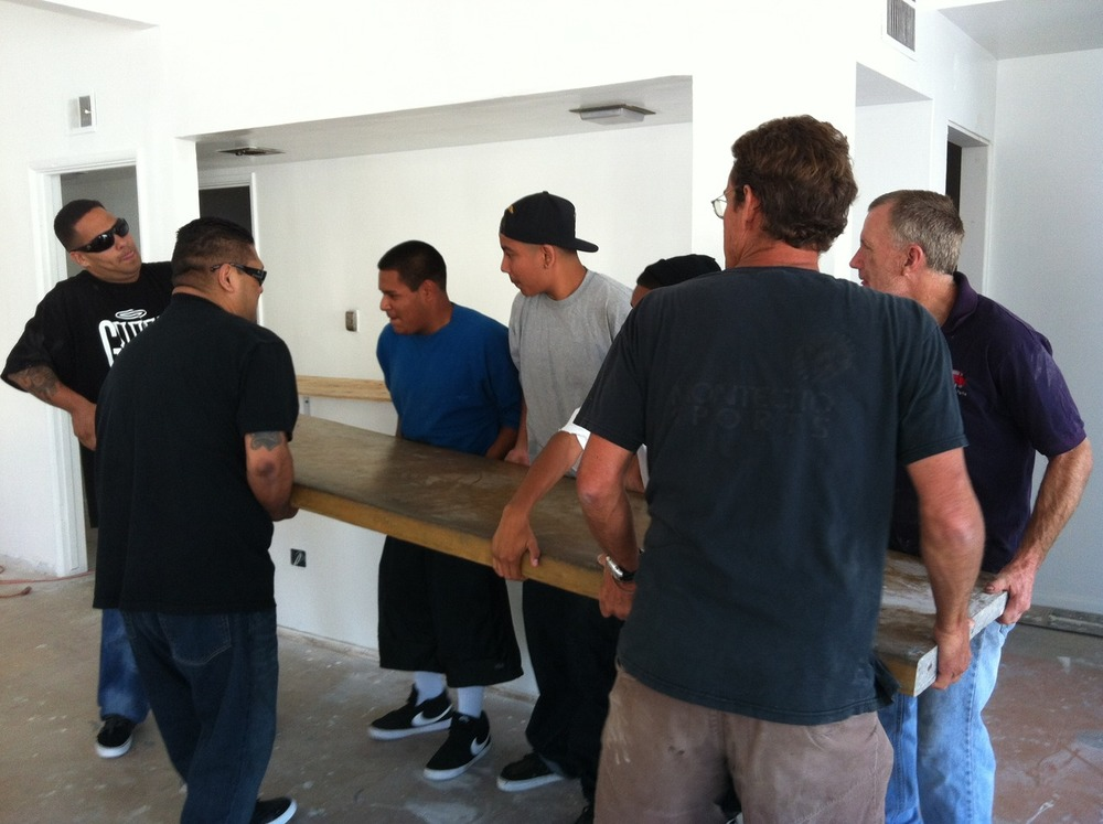 It was all hands on deck today to get the Margerum Wine Counter in !!!
