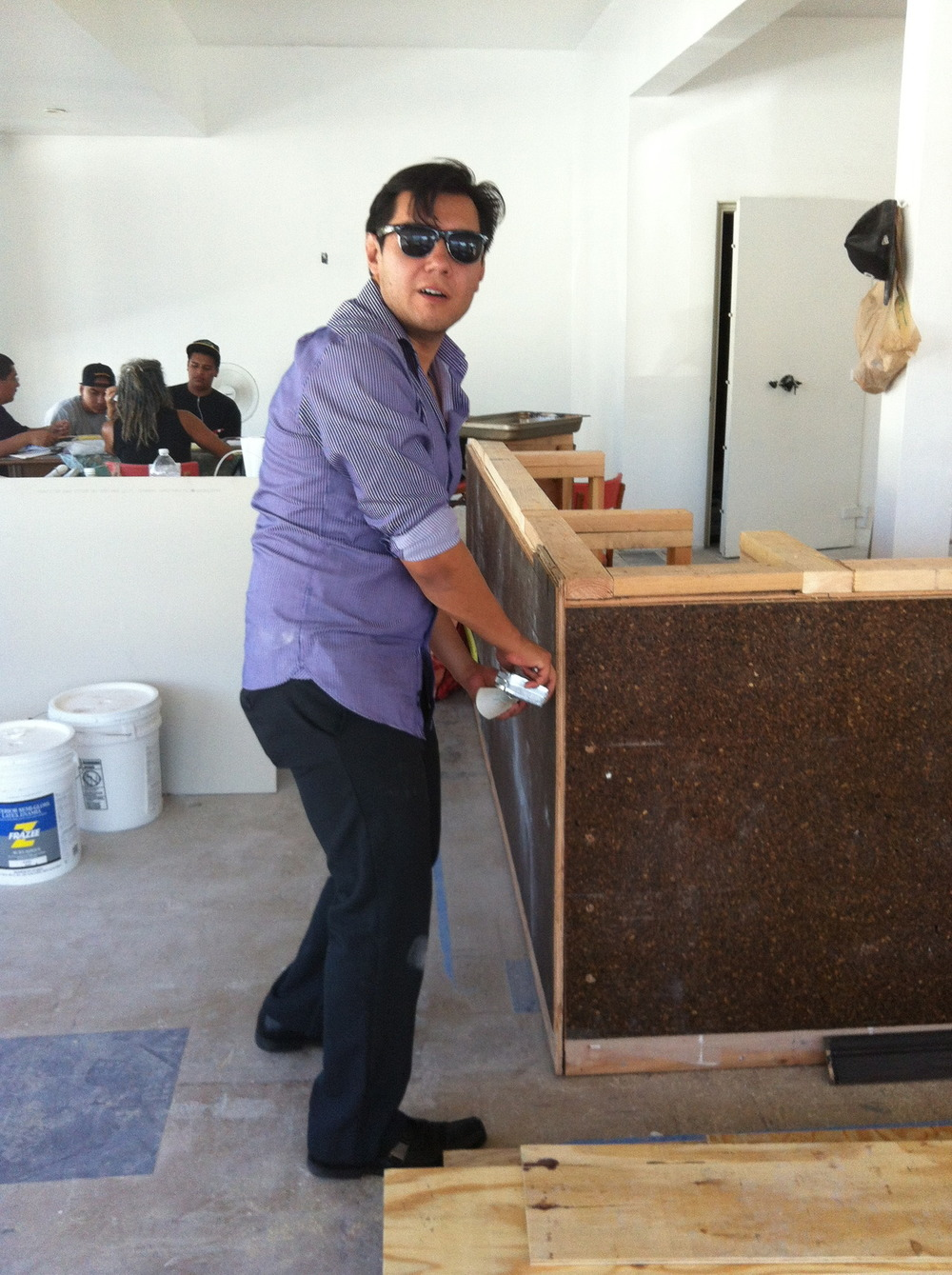 Art Team leader > Jaime Guerrero measuring up for the upcoming artwork on our floor - It's going to be awesome !!!