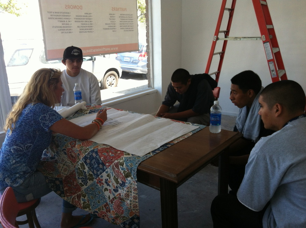 Youth Interactive and SB Santa Barbara graffiti artists discussing the design and artwork for our floor!!!