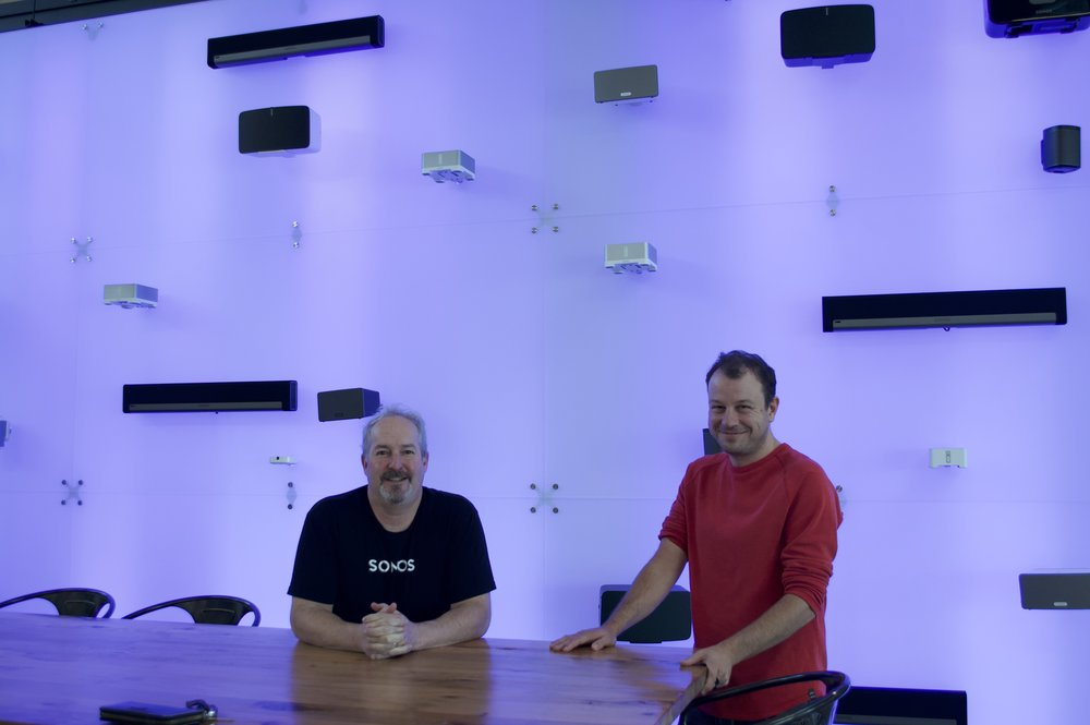 Special thanks to Andy and Noah for helping deliver and install the speakers! Picture in front of the Speaker Wall at Sonos.