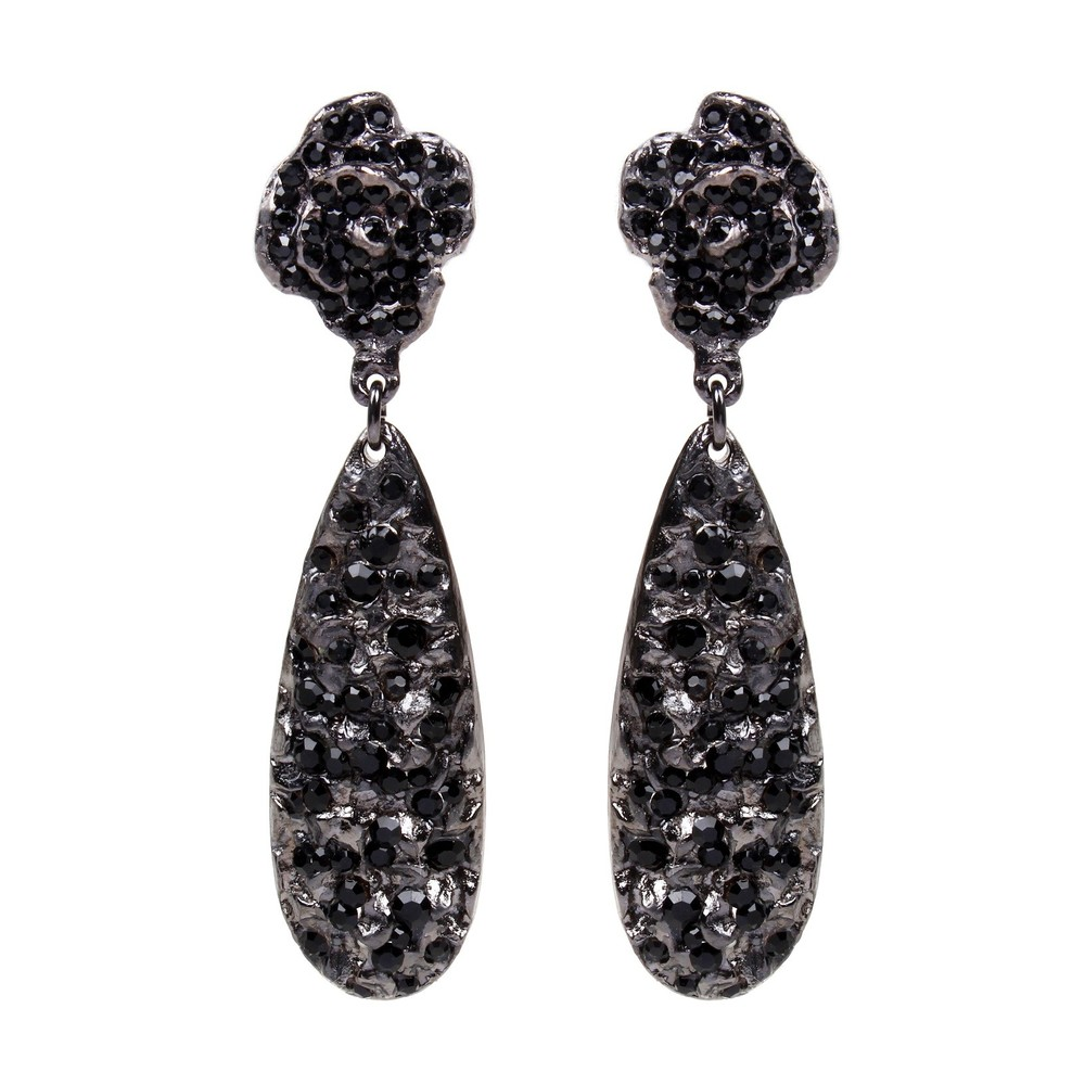Rosa Teardrop Earrings Jet Black