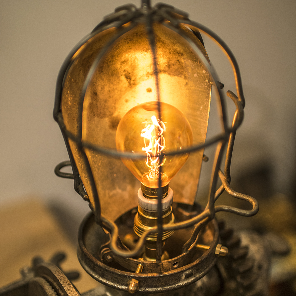 Vintage lamp cage found in Brooklyn, New York.