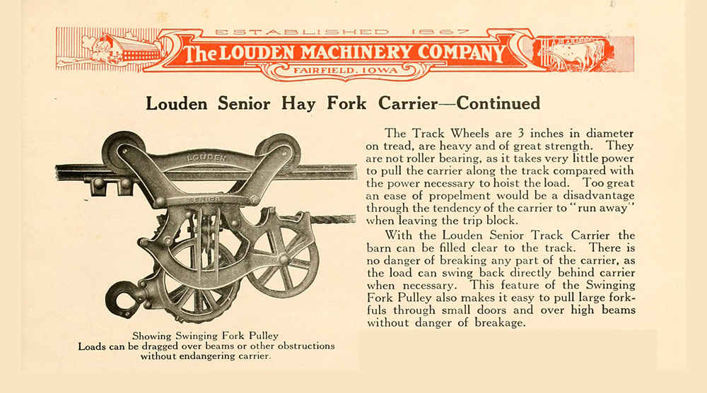 Old merchandise sheet for Louden Hay Carriers.
