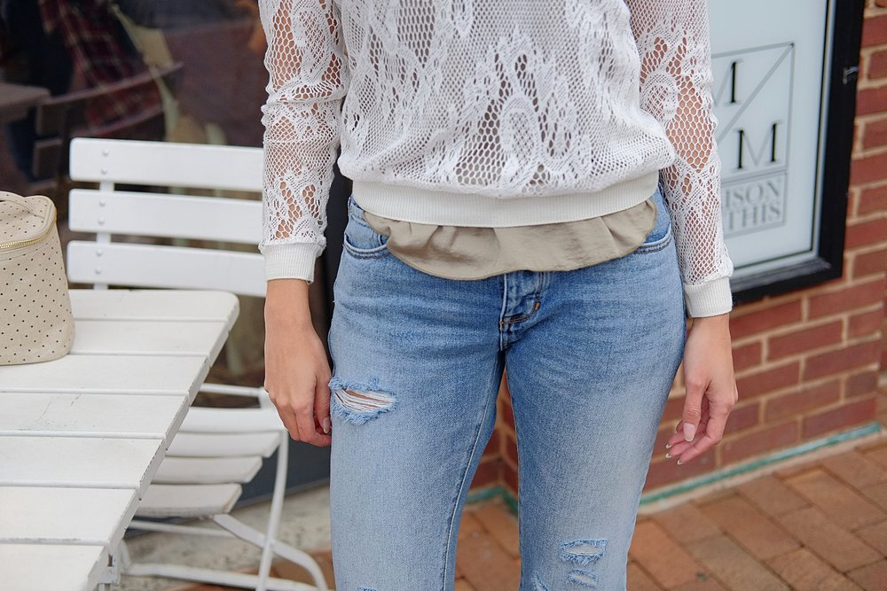 Lace long sleeve  WHBM  | Satin-like tank top  H&M  | Ripped girlfriend jeans  PacSun