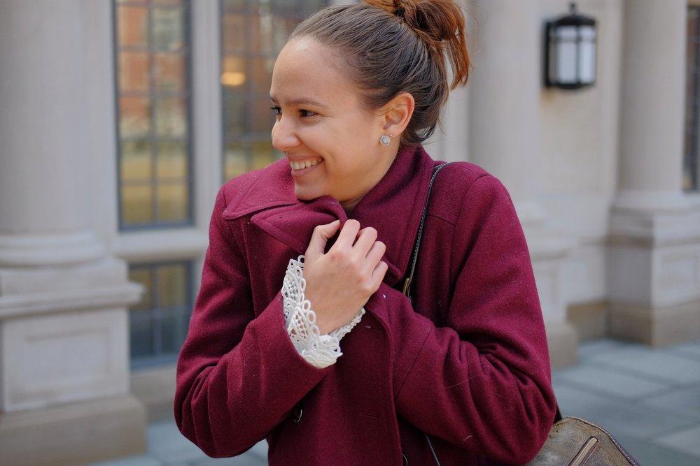 Peacoat  Calvin Klein  | Bell sleeve shirt  WHBM  | Messenger bag  Thrifted  | Boots  Michael Kors