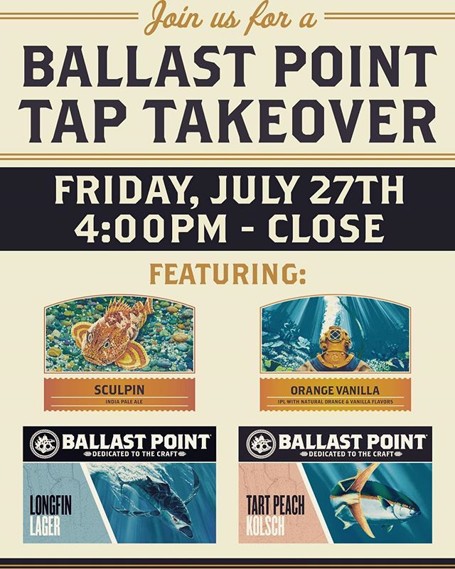 Don't forget to join us and our friends @ballastpointbrewing for some fun next Friday night!!
