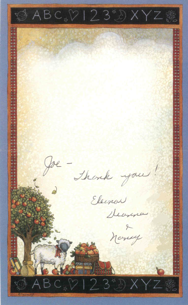 From Deanna and Nancy, for their mother Eleanor. Eleanor is the surviving spouse of an Army veteran.