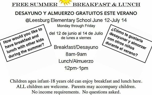 At Leesburg elementary this summer. Please share. #nokidhungry #loudouncounty