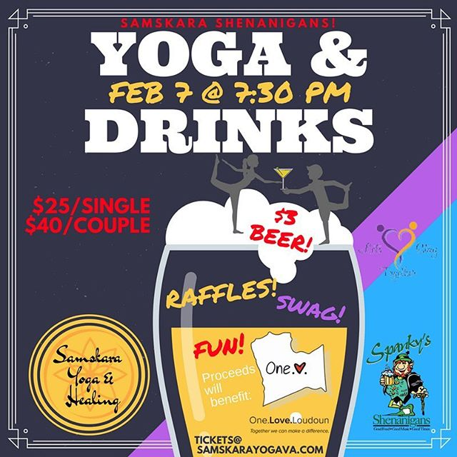 Yoga & Drinks - Feb 7th  at @spankyspubb brought to you by @samskarayogahealing