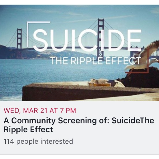 "Sadly, suicide in Loudoun is all too familiar. Just last month we lost a mother and a child to suicide. In conjunction with my dear friend Megan, we are putting on a viewing of Suicide The Ripple Effect on 3/21 at regal cinemas in countryside.  Tickets must be reserved in advance to ""flip"" the screening. You will be charged once 40 tickets have been secured.  RATING: NR GENRE: Documentary RELEASE: 2018 DURATION: 90 At age 19, Kevin Hines attempted to take his life by jumping from the Golden Gate Bridge. Seventeen years later, he still struggles with many of the same symptoms that led him to attempt to take his life, but he is on a mission to use his story to help others stay alive. Kevin has also been one of the key catalysts in helping end a nearly 80-year long fight to construct suicide prevention net on the iconic San Francisco bridge.  Kevin takes a journey to better understand the ripple effects his suicide attempt had on his family, friends, and the first responders who helped save him. He's also working to shine light on inspirational individuals, families, and organizations who are using personal pain to help others find the hope they need to heal.  Across the globe, nearly 1 million people die annually by suicide. In the United States alone there are one million suicide attempts in a given year and over 40,000 deaths by suicide, with our military being hit particularly hard. Research has shown that for every one death by suicide, over 115 people are directly affected and impacted. The estimated financial cost of suicide is over 40 billion dollars annually.  People around the globe are uniting and responding to calls for change with the goal of having a tremendous positive impact on reducing the number of suicides and suicide attempts around the world. #BeHereTomorrow."