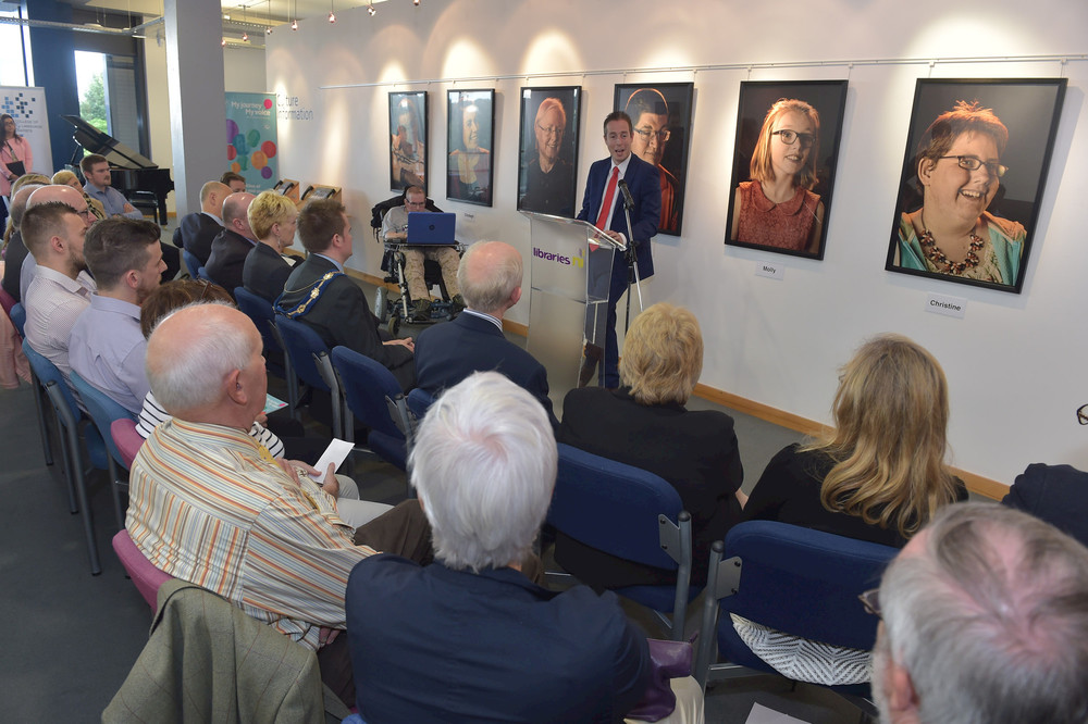 Minister Givan launches the Libraries NI tour of My Journey My Voice at Lisburn City Library on 4 August 2016.