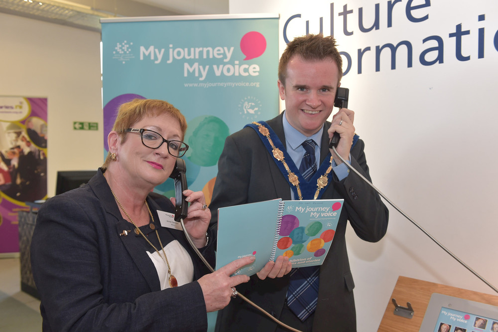 Anne Gamble, RCSLT NI Country Representative and Deputy Mayor Stephen Martin listen to the stories of our participants at Lisburn City Library