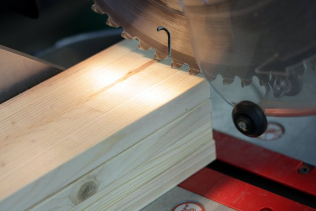"""Cut the ends off of the 38"""" 1x4 boards. Cut as many boards as you can at once."""