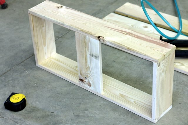 """Using 2 of the the 30"""" and all of the 11-3/4"""" 1x6s, build the trough box with the 1x6s as shown. Use simple lap joints. I used an air nailer but finishing nails or 1-1/4"""" screws would work as well."""