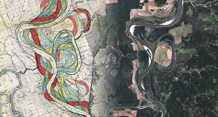 Meandering Mississippi by Army Corp of Engineers and NASA Earth Observatory, combined by Suyash Pawar
