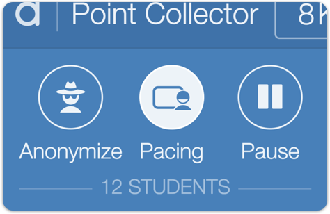 Image of the teacher dashboard showing the pacing button activated.