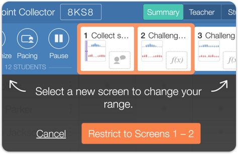 Image of the teacher dashboard showing how to select screens for pacing.
